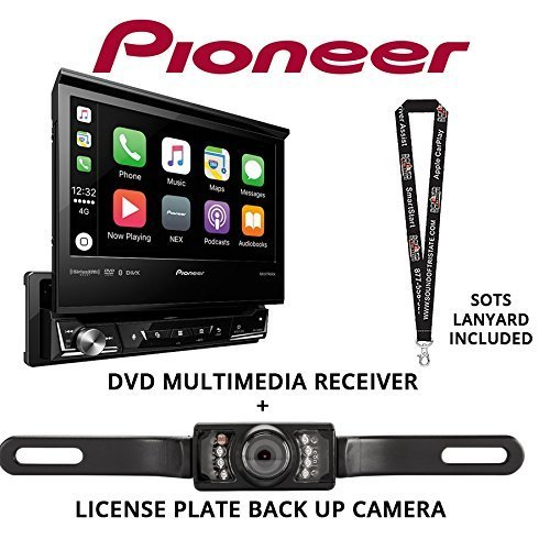 "Pioneer AVH-3300NEX 7"" Single Din DVD Receiver Apple CarPlay Built in Bluetooth with License Plate Style Backup Camera and a FREE SOTS Lanyard"