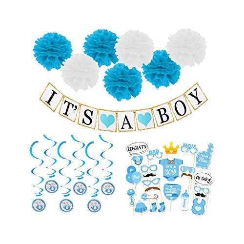 Boy Baby Shower Decoration Kit (47pcs)- Baby Shower Photo booth Props, Its A Boy Banner, Blue Swirls, Blue and White Tissue Flowers Pompoms - Baby Shower Ideas For Boys - (Decoration Booth Ideas)
