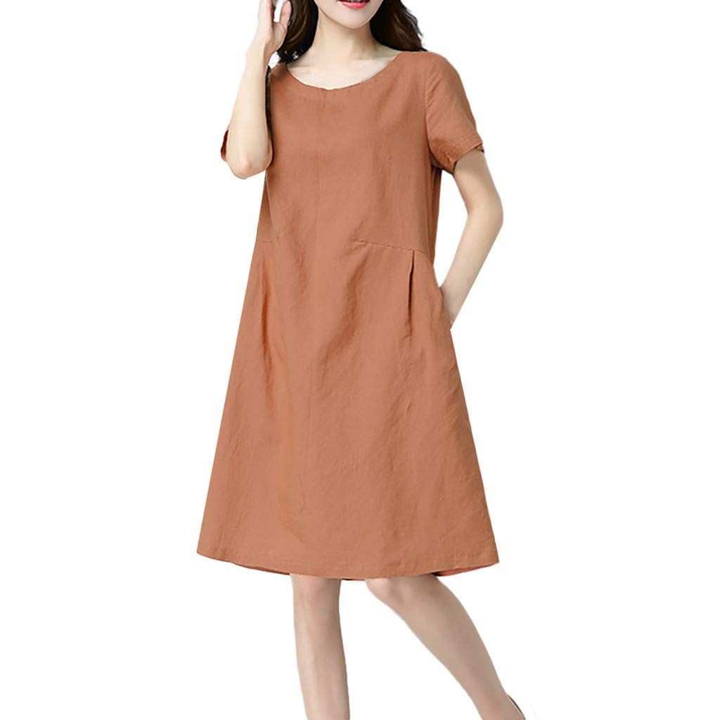 Nuewofally Women Cotton Linen Dress Casual Short Sleeve Sundress Fashion Midi Dress Baggy Wedding Party Club Dress (Orange,XL)