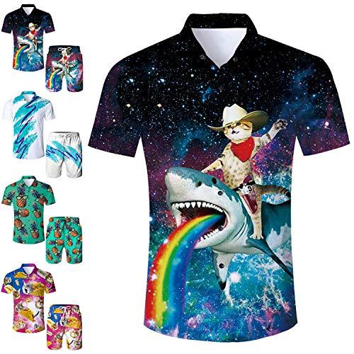 Men's Hawaiian Shirt Galaxy Cat Riding Rainbow Shark Print Tropical Beach Aloha Shirt Casual Button Down Short Sleeve Dress Shirt -