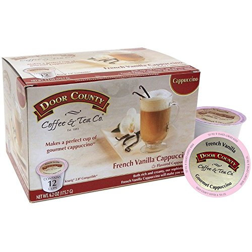 Door County Coffee, Single-Serve Cups for Keurig Brewers, French Vanilla Cappuccino, 12 Count