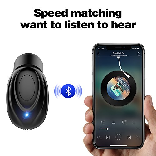 WSCSR Single Wireless Earbuds, V4.1 Mini Bluetooth Earbud, in-Ear Smallest Wireless Earbud Small Car Bluetooth Headset with Mic, Cell Phone Bluetooth Earpiece for iPhone Samsung Android - Black by WSCSR (Image #1)