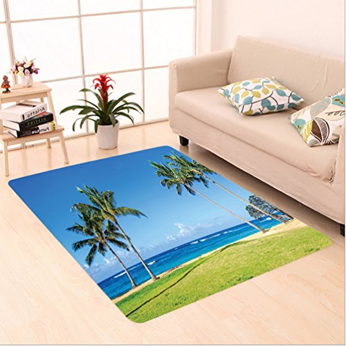 Nalahome Custom carpet orations Coconut Palm Trees and Lawn on the Sandy Poipu Beach in Hawaii Kauai Picture Blue Green area rugs for Living Dining Room Bedroom Hallway Office Carpet (6.5' X 10') by Nalahome