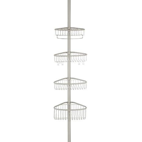 iDesign Estantería de baño extensible, organizador esquinero telescópico en acero con tecnología Constant Tension, estante de ducha con 4 cestas y 4 ...