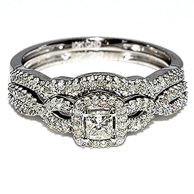 Amazon Com Princess Cut Diamond Wedding Ring Set Bridal 0 4cttw 10k
