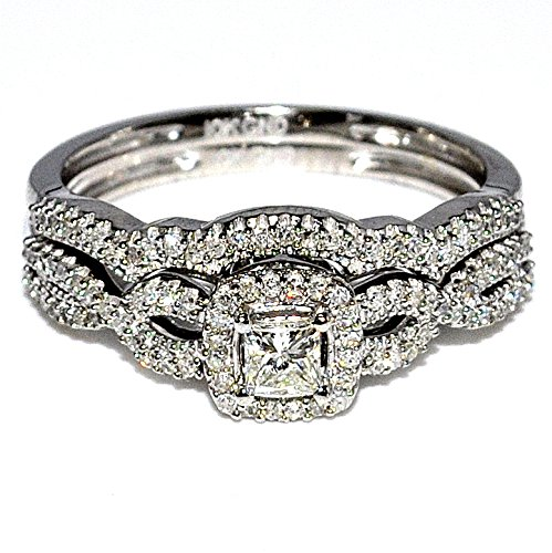 Princess Cut Diamond Wedding Ring Set Bridal 0.4cttw 10K White Gold 2 Piece Set (0.4cttw)
