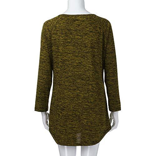 Chemisier Plus Size Manches Jaune Rond Longue Shirt Couleur Rayure Longues Bringbring Tops Pull Femme Chemise T Col IRxA5qqn