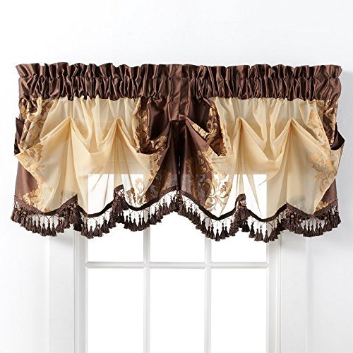 GoodGram Danbury Embroidered Window Treatments Assorted Colors and Sizes (Brown, Single Valance) (Valances Window Formal)