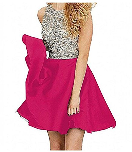 TANGFUTI Beading Short Prom Dresses Open Back Satin Homecoming Dresses 107RR-US4 Rose Red