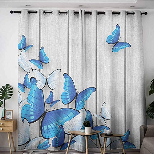 AGONIU Simple Curtains,Butterflies Blue and White Butterflies on Wooden Background Timber Wall Rustic Life,for Bedroom Grommet Drapes,W84x96L Silver Blue - Foil Butterfly Silver Bead