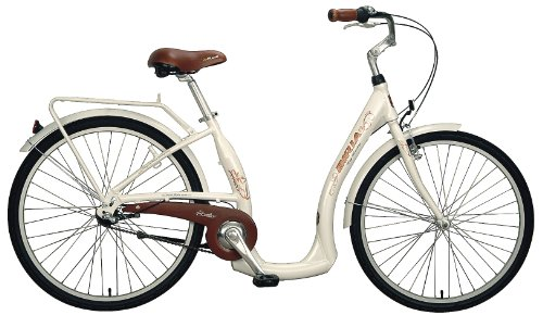 Biria Step Through 3-speed Shimano Nexus internal Hub, Aluminum, Light Beige , 15.5 Inch frame size Cruiser comfort German design Bicycle
