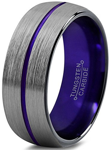 ion Tungsten Wedding Band Ring 8mm for Men Women Blue Red Green Purple Black Center Line Domed Brushed Polished Size 7.5 ()
