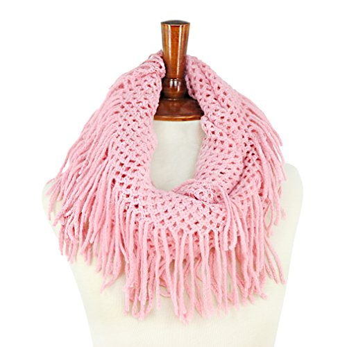Basico Women Winter Warm Knit Infinity Scarf Tassels Soft Shawl  Various Colors  (Pink)