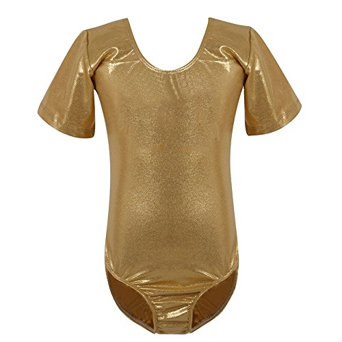 Different Types Of Ballet Costumes (ROPALIA Kid Girls Gymnastic Leotard Shiny Round Neck Short Sleeve Dance Costume)