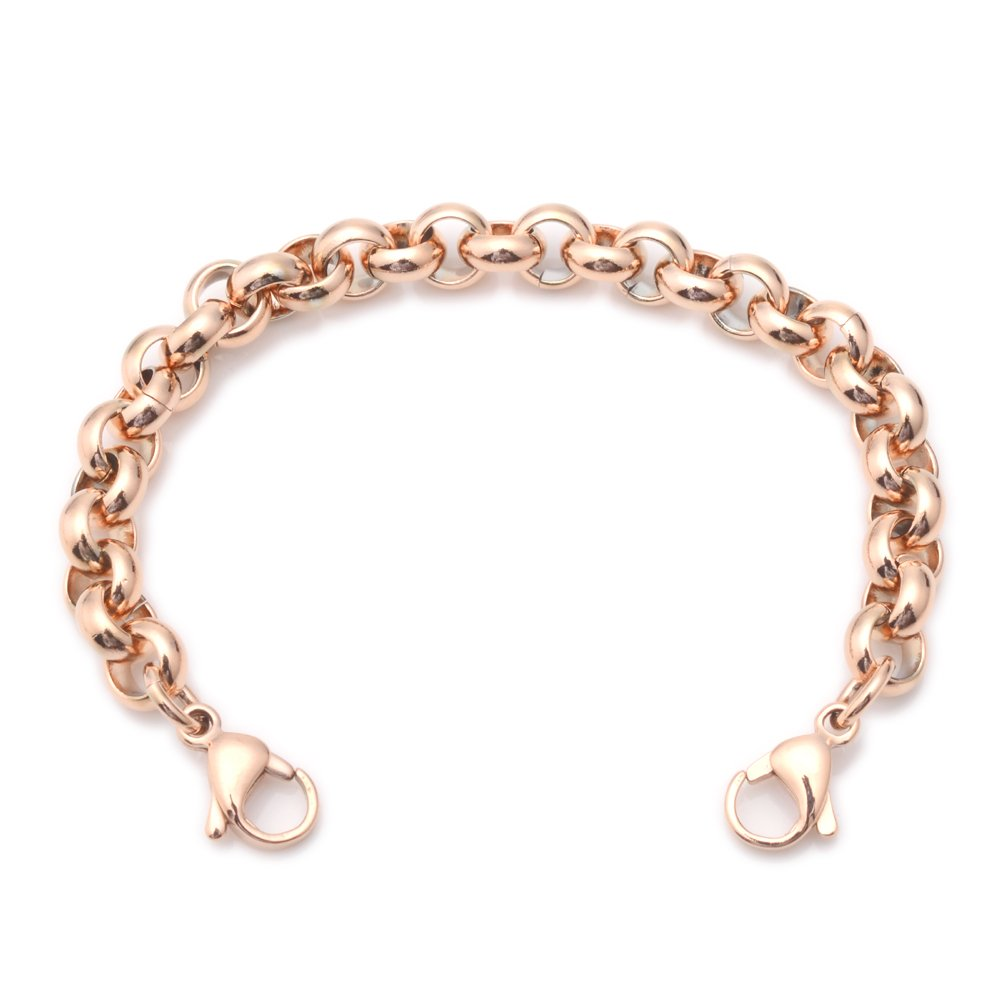 Stainless Steel Rose Gold Rolo Medical ID Interchangeable Bracelet MAU2