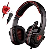 SADES SA901 Over Ear USB Wired 7.1 Surround Stereo Noise Cancelling Deed Bass PC Gaming Headset with Microphone (Black Red)
