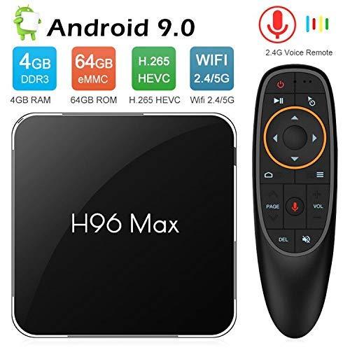 WFGZQ TV Box Android 8.1 H96 MAX 4GB + 64GB 2019 with Amlogic S905X2 Core 64-Bit Processor 4K Ultra HD Support Dual Wifi…