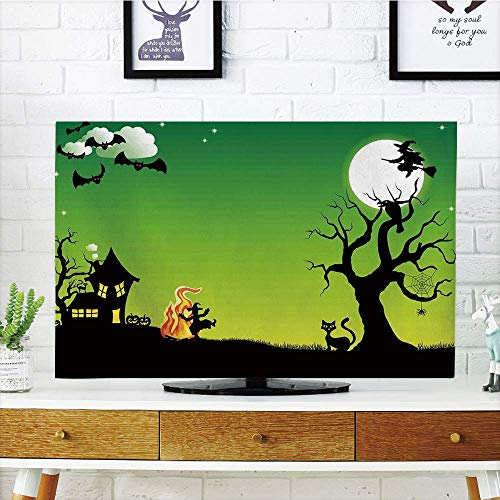 YCHY LCD TV dust Cover Strong Durability,Halloween Decorations,Witch Dancing with Fire at Halloween Ancient Western Horror Image,Green Black,Picture Print Design Compatible 47