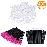 100 Glue Holder Rings Cup 100 Eyeliner Brushes Eyelash Mascara Wands and 200 Lipstick Brush Gloss Wands Applicator
