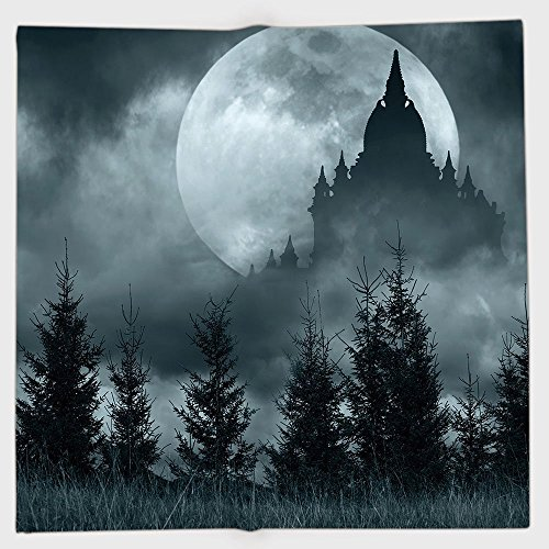 iPrint Polyester Bandana Headband Scarves Headwrap,Halloween,Magic Castle Silhouette Over Full Moon Night Fantasy Landscape Scary Forest,Grey Pale Grey,for Women Men]()