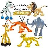 BigNoseDeer 4 Pulgadas Figuras de Dinosaurio de Dibujos Animados con Animales de Bosque Conjunto, 6 Piezas de Animales de plástico Salvaje y Dino Partido favores