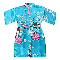 WONDERFIT Girls Stain Kimono Peacock Flo...