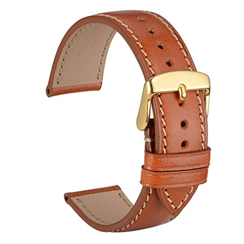 WOCCI 18mm Watch Band,Sports Style Full Grain Leather Watch Strap with Gold Buckle(Gold Brown)