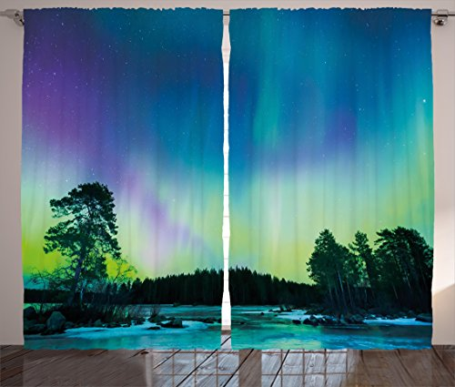 Northern Lights Curtains by Ambesonne, Sky over Lake Surrounded Forest Woods Hemisphere Print, Living Room Bedroom Window Drapes 2 Panel Set, 108 W X 84 L Inches, Violet Blue Lime - Green Purple Lime