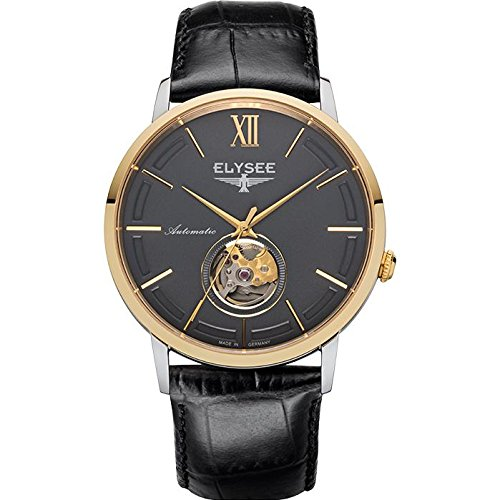 ELYSEE Men's 'Classic-Edition' Automatic Gold-Tone and Leather Casual Watch, Color:Black (Model: 77011G)