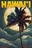 Hawaii - Palms and Full Moon (24x36 SIGNED Print Master Giclee Print w/ Certificate of Authenticity - Wall Decor Travel Poster)