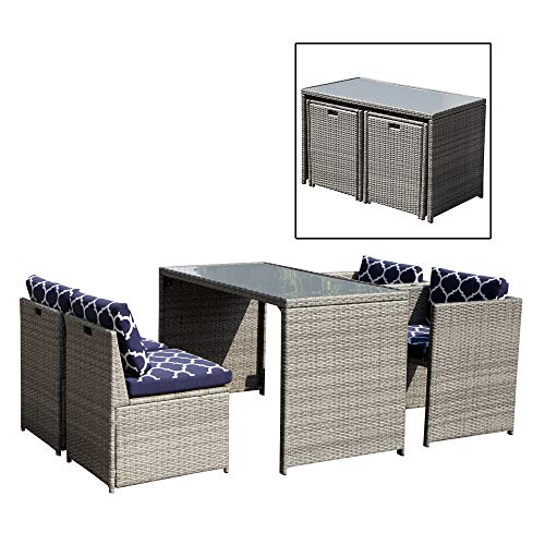 OC Orange-Casual 5 Piece Rattan Wicker Furniture Set Outdoor Dining Set Cushioned Patio Sectional Conversation Bistro Set, Space Saving - Grey