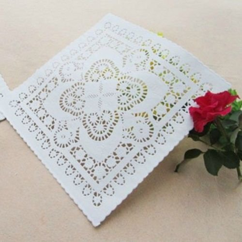 50 PCs White Square Paper Lace Doilies Craft & Wedding Decoration Craft Doily Pad (10 inch) (Aqua And Brown Wedding Invitations)