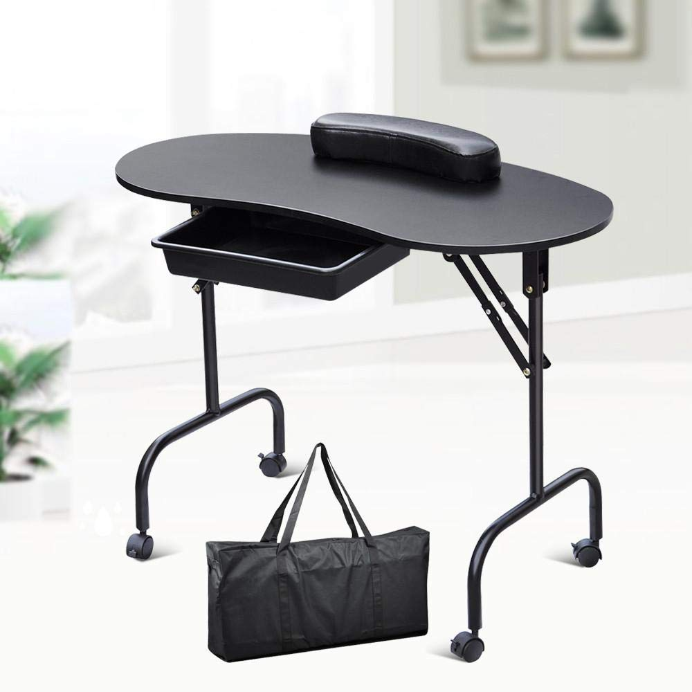 Topeakmart 37 Inch 1 Drawer Folding Manicure Table Beauty Salon Nail Beautician Desk Workstation With Client Wrist Pad And Carrying Bag Black Beauty