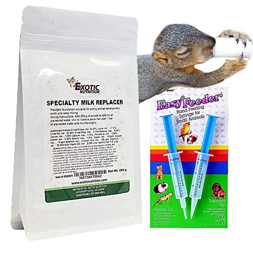 (Baby Squirrel Milk Replacer Kit - Formula + Feeding Syringes - Nursing Kit for Baby Squirrels, Rabbits, Opossums & Other Baby Animals)