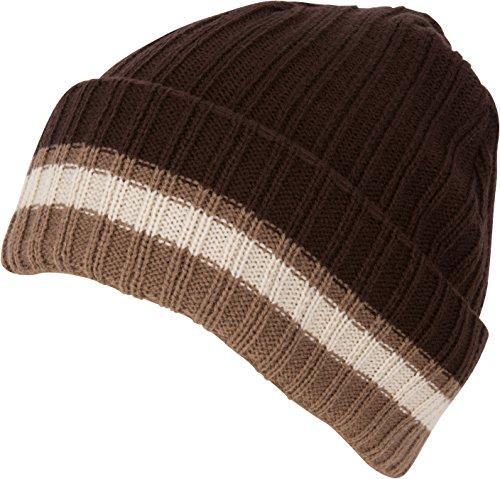 Sakkas CADK1521 - Nixon Unisex Ribbed Stripe Beanie Cap - 2-Brown - OS (Brown Striped Beanie)