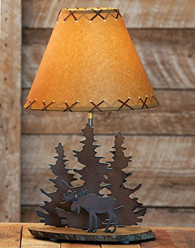 BLACK FOREST DECOR Moose Rustic Metal Lamp - Cabin Lighting Fixtures