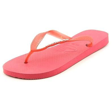 64e6757c3316 Havaianas Metallic Logo Neon Pink Flip Flops - UK 8-9  Amazon.co.uk  Shoes    Bags