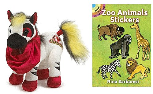 Plush Zebra Mascot Costumes (Ganz Webkinz Rockerz Zebra Plush Animal with Zoo Animals Sticker Book)