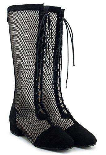 Aisun Perforé Classique Sandales Noir Femme Lacets à Petit Talon rSprWng