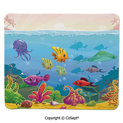 Gaming Mouse Pad,Funny Cartoon Style Underwater Scenery with Various Animals and Treasure Chest Decorative,for Laptop,Computer & PC (7.87
