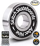 Skitch Pro Skateboard Bearings Set - Premium Long Spin ABEC 9 Chrome Steel Bearing Kit for Longboards, Skate Boards, Scooters and Roller Skates - Includes Washers + Spacers + BONUS Carry Case (8-Pack)
