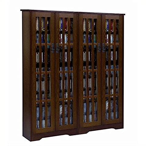 Leslie Dame M-954DC High-Capacity Inlaid Glass Mission Style Multimedia Storage Cabinet, Cherry (Cd Cabinet Mission)