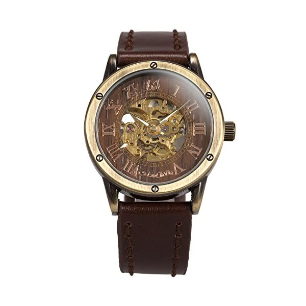 ManChDa Mens Wrist Watch Fashion Leather Band Special Burlywood dial Automatic Mechanical Wrist Watch for Men + Gift Box 4
