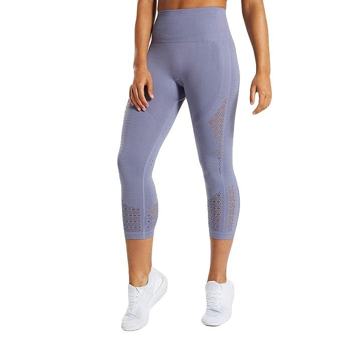 Mujer Pantalones Verano Mallas Mujer Fitness Elásticos Mallas Moda Pantalones Camuflaje Color sólido Hueco Leggings Slim Fit Mayas Pantalones Cortos ...