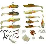 Easy Catch ® Mighty Bite 5-sense Soft Plastic Fishing Lures/Baits Kits with System Hook Inside and Complete Basic Kit for Freshwater/Saltwater Fishing BQ11