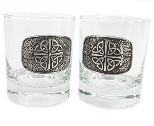 Trinity Knot Irish Whiskey Glasses Quadruple Trinity Set of Two Made in Ireland
