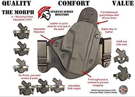 Glock 19/23 IWB/OWB Holster, Black Kydex with Bridle Leather Backer, Inside  The Waistband or Outside The Waistband Concealed Carry Holster, Veteran