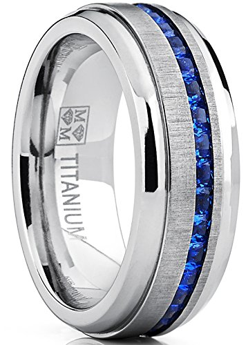 Metal Masters Co. Men's Titanium Wedding Band Engagement Ring W/Blue Simulated Sapphire Cubic Zirconia Princess CZ 12