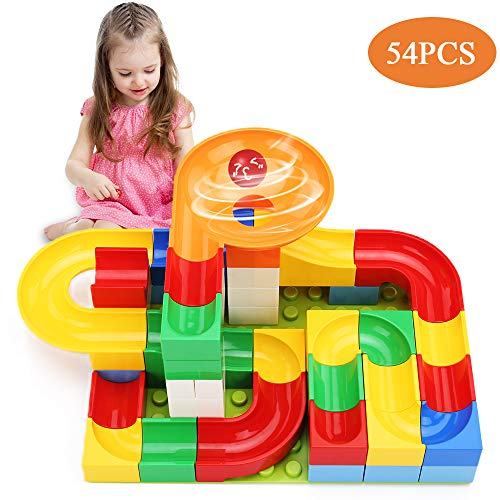TEMI 54 PCS Marble Run Basic Sets for Kids | Marble Race Track for 3+ Year Old Boys and Girls | Marble Roller Coaster Building Block Construction Toys | Puzzle Maze Building Set with 2 Marbles Balls