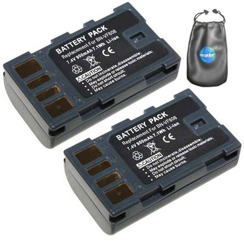 ValuePack (2 Count): Digital Replacement Camera and Camcorder Battery for JVC BN-VF808, BN-VF808U - Includes Lens Pouch